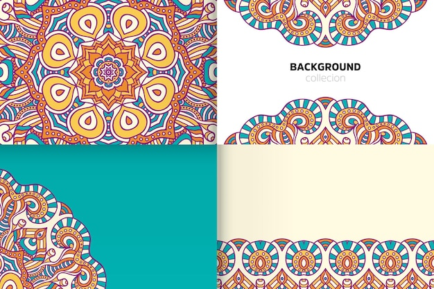 Background template in ethnic style Premium Vector
