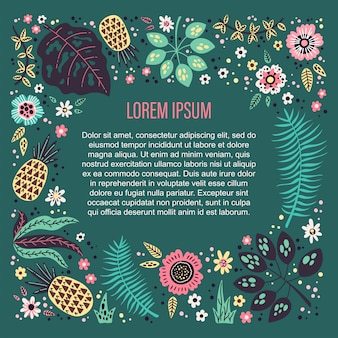 Background template surrounded by vector tropical fruits, plants and flowers.