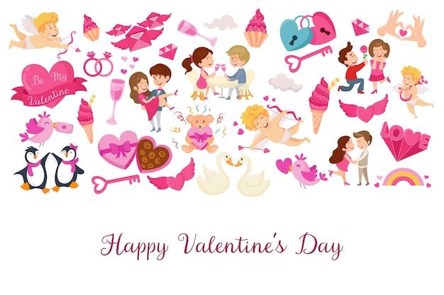 Background template for valentine's day celebration with design elements and text