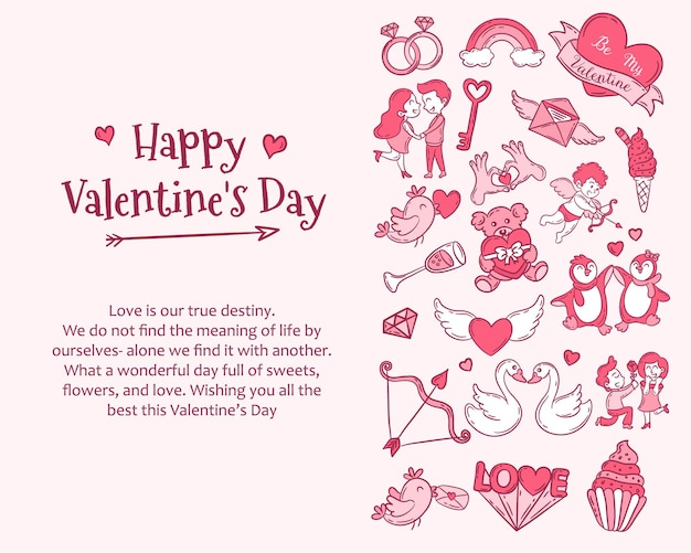 Background template for valentine's day celebration with doodle icons and sample text