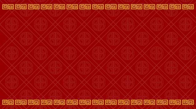 赤で中国のパターンを持つ背景テンプレート