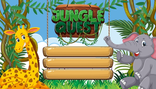 Background template with empty signs and wild animals in the woods