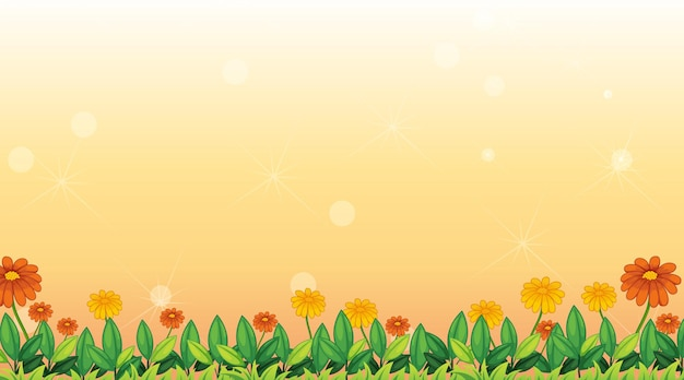 Background template with flowers in the field