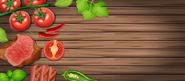 Фоновый шаблон с жареным мясом и овощами