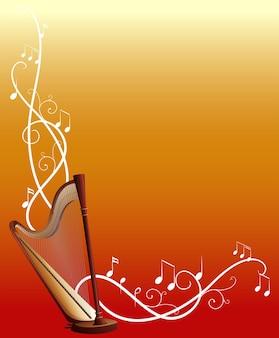 Modello di sfondo con arpa e note musicali