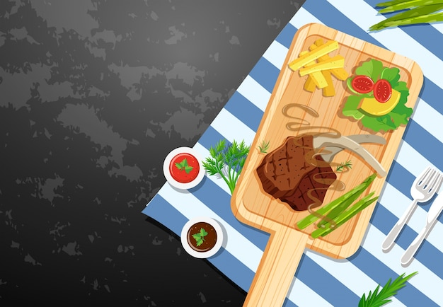 Background template with lambchop and fries