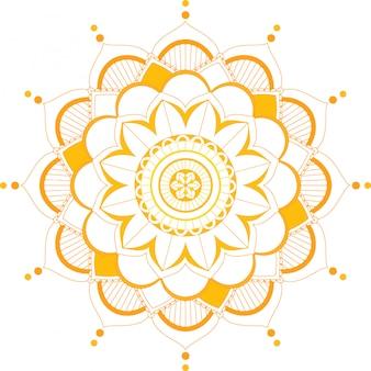 オレンジ色のマンダラパターンの背景テンプレート