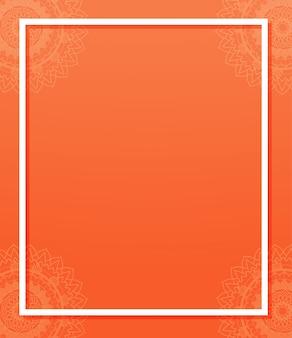 Background template with mandala patterns on orange