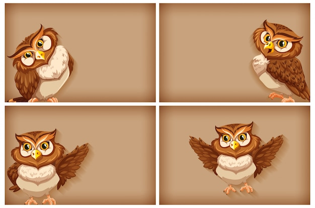 Background template with plain color and owls