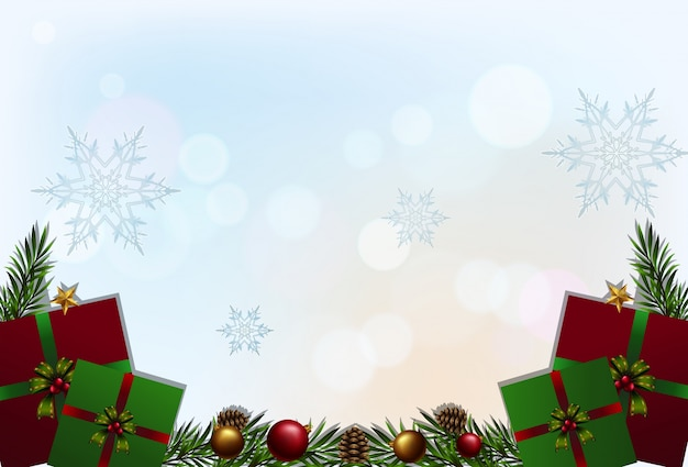 Background template with red and green presents