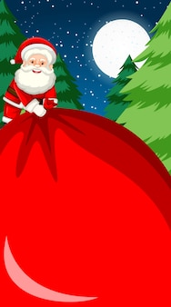 Background template with santa holding big bag