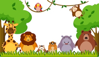 Background template with wild animals in park