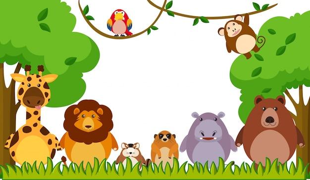 公園で野生動物と背景テンプレート