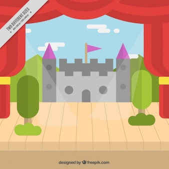 Background of theater stage with decorative castle