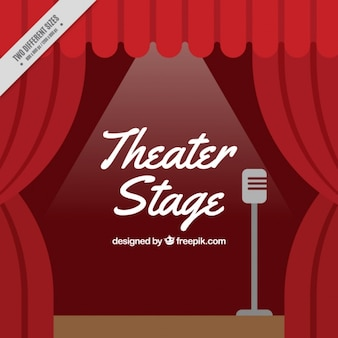 Background of theater stage with microphone