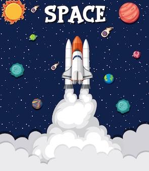우주에서 로켓 비행 공간의 배경 테마