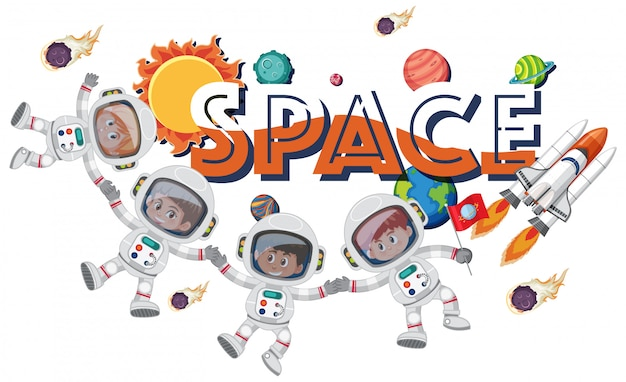 Background theme of space with astronauts and spaceship