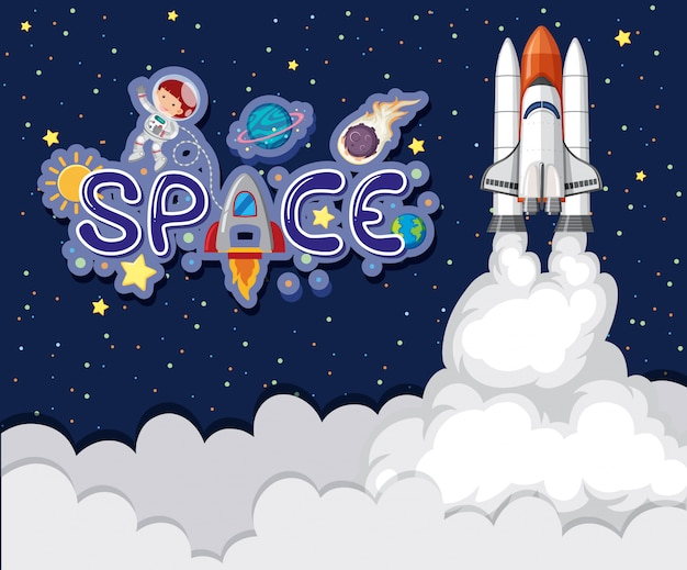 Background theme of space with spaceship flying in the sky