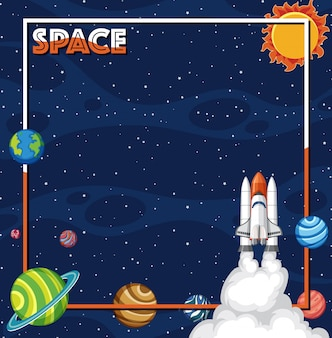 Background theme of space with spaceship and solar system