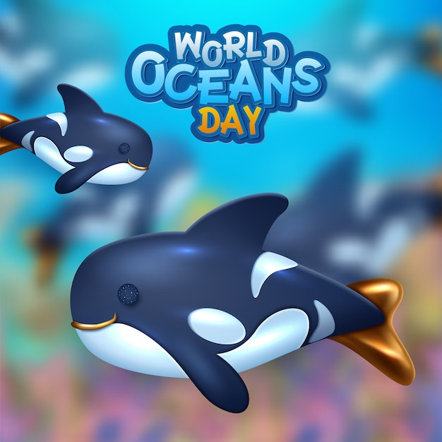 Background on the theme of world oceans day.  illustration