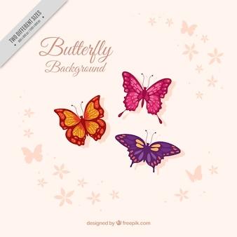 Sfondo di tre belle farfalle