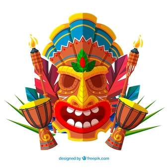 Background of tiki mask in flat design with timpani