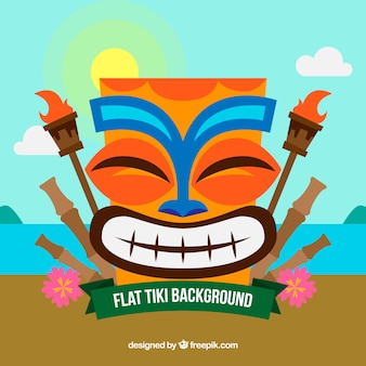 Background of tiki mask smiling