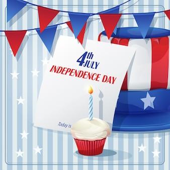 7月4日の独立記念日の背景に旗と帽子。