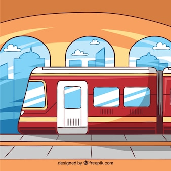 Background of train station in hand-drawn style