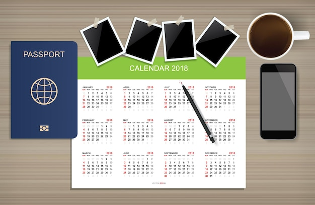 Background for traveler template with smartphone, passport, coffee and calendar on wood. vector illustration.