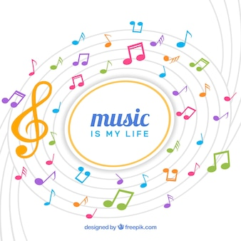 Background of treble clef and colorful notes
