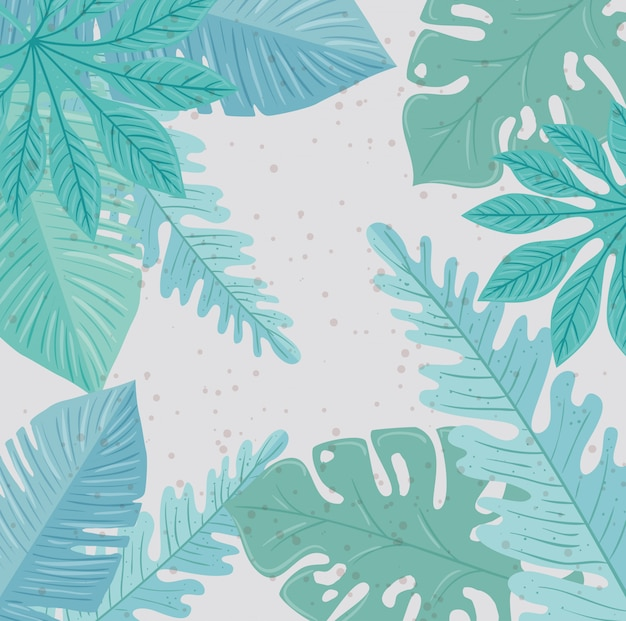 背景、熱帯の自然の葉、パステルカラー