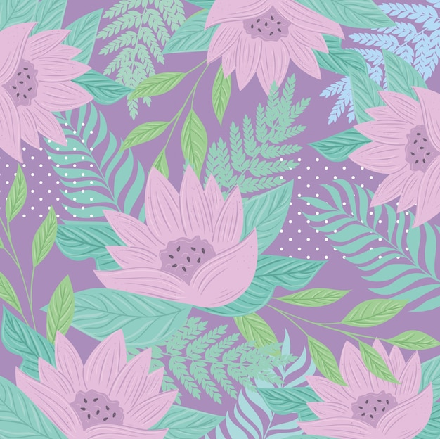 背景、パステルカラーの花と熱帯の自然の葉