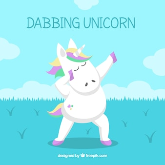 Background of unicorn doing dabbing movement