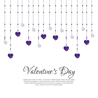 Background for valentine with hanging hearts