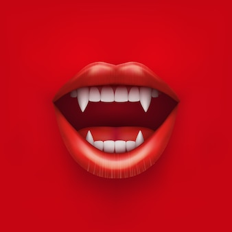 Background of vampire mouth with open red lips and long teeth.  illustration. isolated on white background.