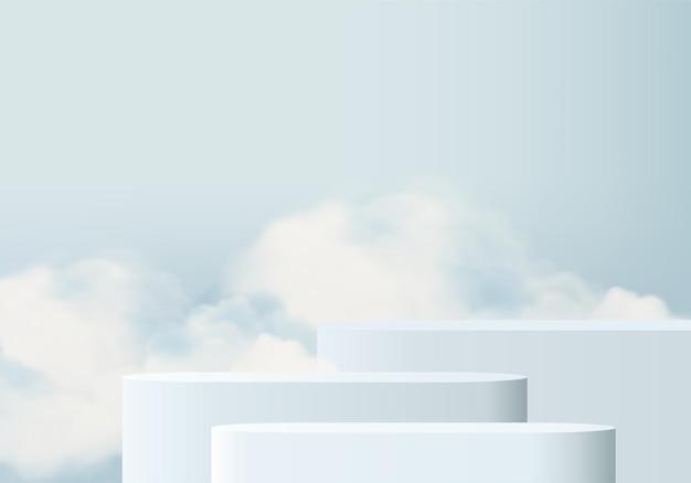연단과 최소한의 구름 장면이 있는 배경 벡터 3d 파란색 렌더링, 최소 제품 디스플레이 배경 3d 렌더링된 기하학적 모양 하늘 구름 파스텔. 플랫폼의 3d 렌더링 제품 단계