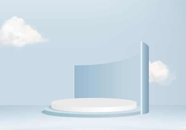 연단과 최소한의 구름 장면 배경 벡터 3d 블루 렌더링