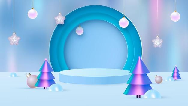 表彰台と最小限の新年のシーンを使用した背景ベクトル3dブルーレンダリング、幾何学的形状の最小限の製品表示背景3dレンダリング。ベクトルイラスト