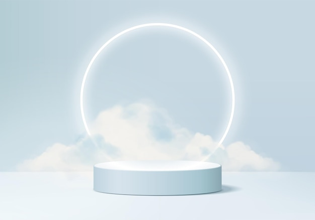 Background vector 3d blue rendering with podium and minimal cloud scene, minimal product display background 3d rendered geometric shape sky cloud blue pastel. stage 3d render product in platform