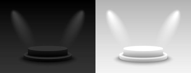 Фон вектор 3d темный и светлый рендеринг с подиумом. пустой темный и светлый постамент платформы. векторная иллюстрация
