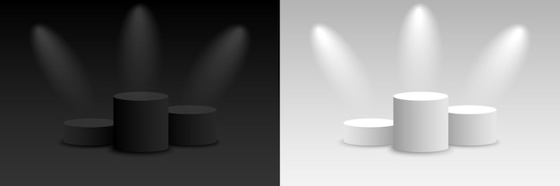 배경 벡터 연단으로 3d 어둡고 밝은 렌더링. 어둡고 밝은 플랫폼 받침대가 비어 있습니다. 벡터 일러스트 레이 션