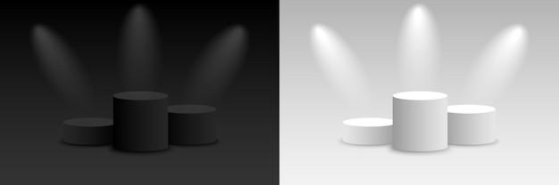 Background vector 3d dark and light rendering with podium. empty dark and light platform pedestal. vector illustration