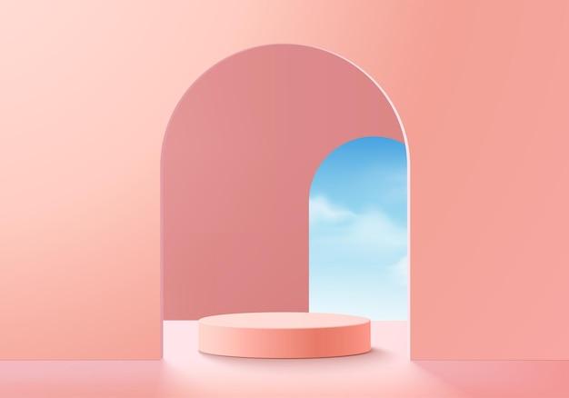 연단 및 최소 클라우드 장면이 있는 배경 벡터 3d 핑크 렌더링, 최소 제품 디스플레이 배경 3d 렌더링된 기하학적 모양 하늘 구름 핑크 파스텔. 플랫폼의 3d 렌더링 제품 단계