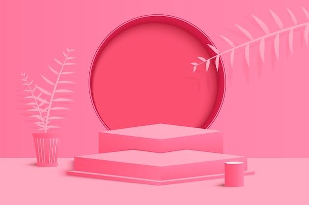 연단과 최소한의 분홍색 벽 장면이 있는 배경 벡터 3d 분홍색 렌더링, 최소한의 추상 배경 3d 렌더링 추상 기하학적 모양 분홍색 파스텔 색상. 현대적인 웹사이트에서 수상을 위한 무대.