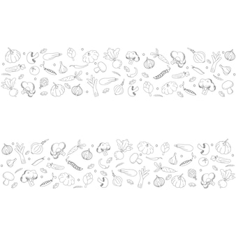 Background in vegetables doodle style black hand drawn vegetables on white background