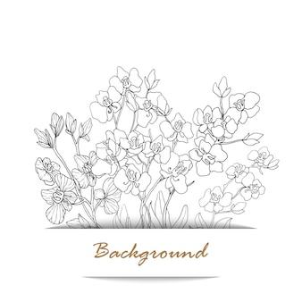 꽃 라인 아트와 배경 빈티지 카드