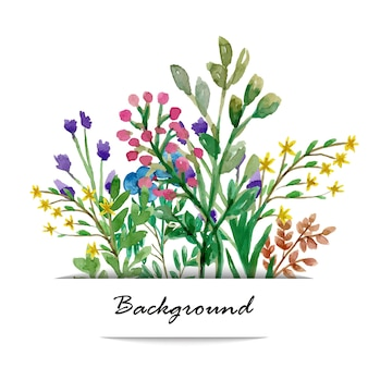 Background vintage card with watercolor wild flowers