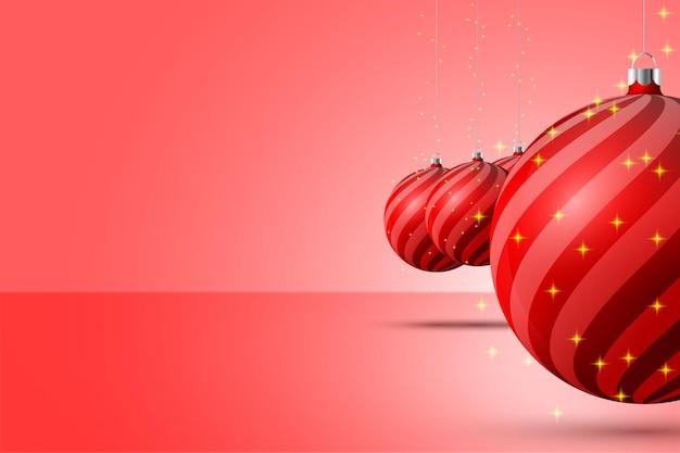 Фон стены и красные елочные шары с игристым