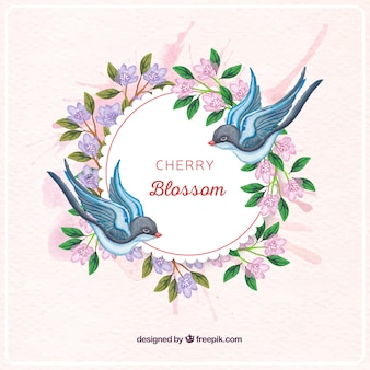 Background of watercolor floral wreath and swallows